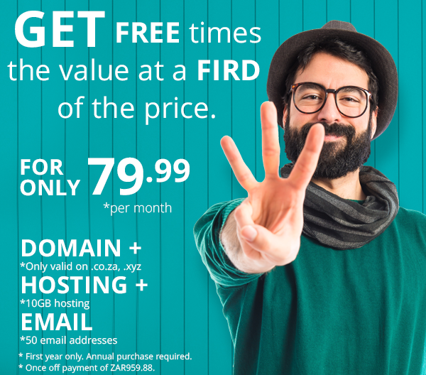 10GB hosting together with 50 email addresses plus a FREE domain for R79.99 per month